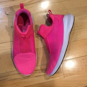Gently used hot pink slip on tennis shoes